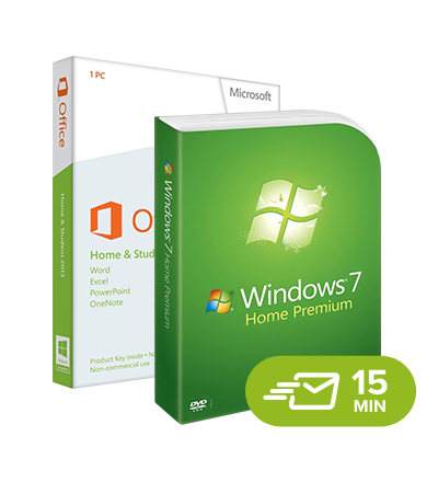 Windows 7 Home Premium + Office 2013 Home & Student - elektronická licence